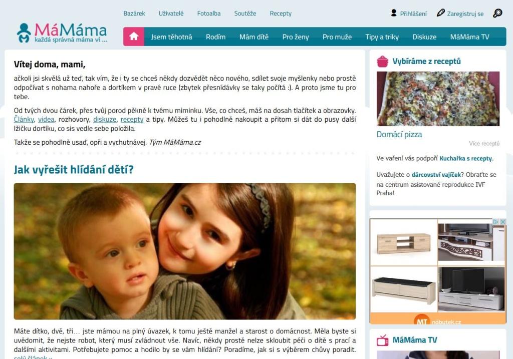 MaMama.cz - vlastní CMS
